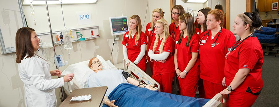 Nursing students learning in the classroom