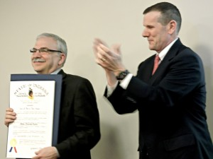 Phot of Mike Keen getting Sagamore of the Wabash Award