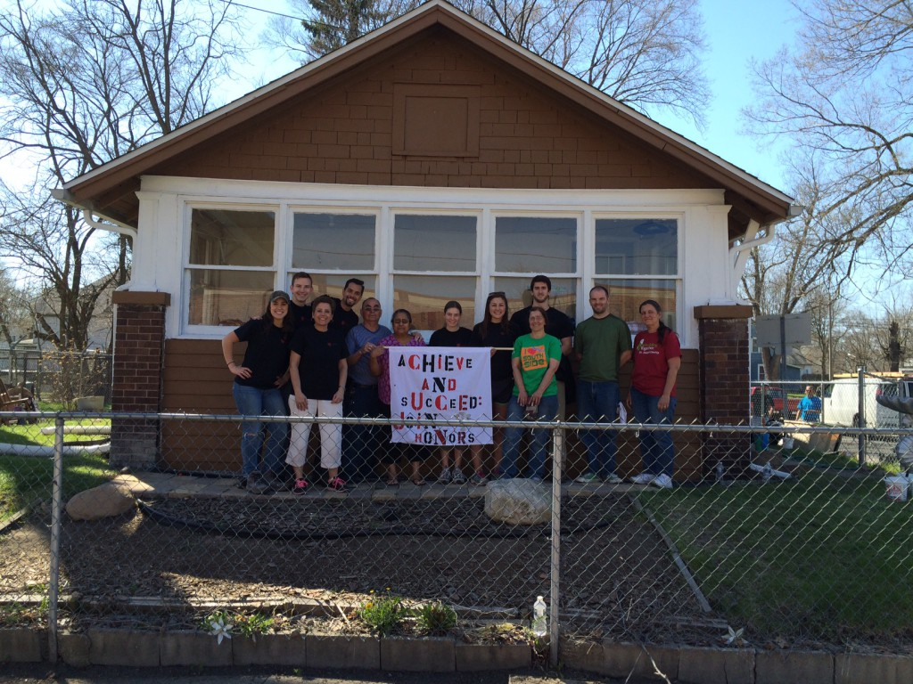 """Group photo of Honors Program """"Rebuilding Together"""" team."""