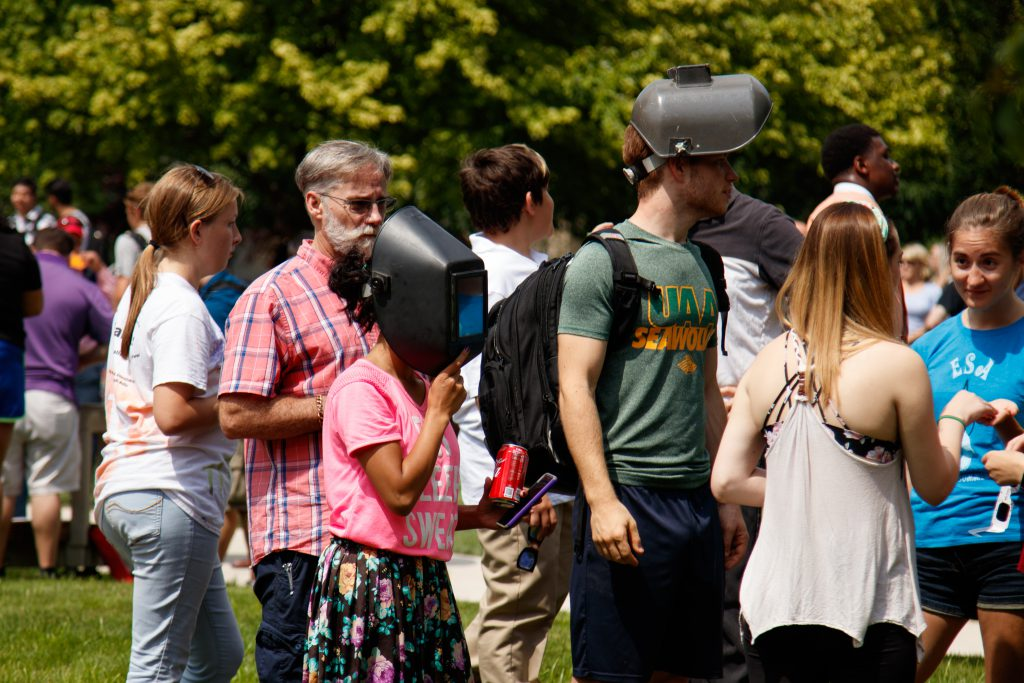 Students watching eclipse