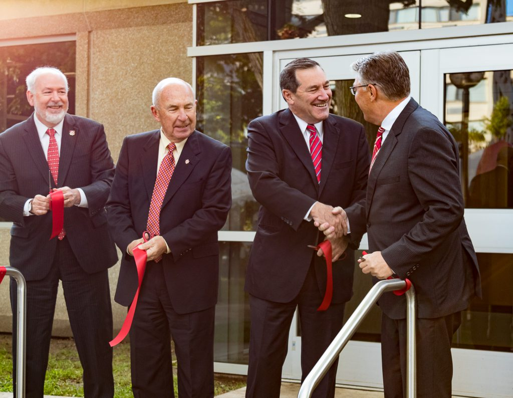 Photo of Riverside Hall ribbon cutting ceremony.