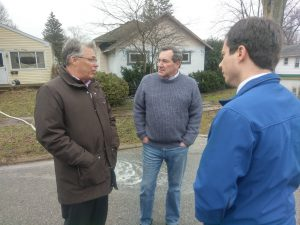 photo of Chancellor Allison talks with Indiana Senator Joe Donnelly and South Bend Mayor Pete Buttigieg.