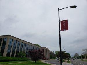 Photo of IU bicentennial banner