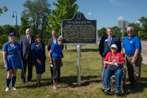 On the 75th anniversary of the first time the Blue Sox played at Playland Park, Betsy Jochum, a member of the original South Bend Blue Sox, John Applegate, executive vice president for University Academic Affairs, Chancellor Susan Elrod, South Bend Mayor James Mueller, and other leaders dedicated a historical marker celebrating these women.