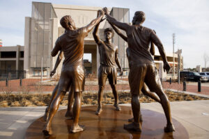 """""""The Spirit of Indiana"""", a 4,830-pound bronze sculpture created by Dora Natella, stands in Miller Plaza outside of Memorial Stadium on the Indiana University Bloomington campus on Friday, March 12, 2021. Natella is an Associate Professor of Sculpture at the Ernestine M. Raclin School of the Arts at IU South Bend."""